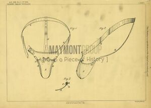 Groin Guards for Cricket Players Palmer Original Patent Lithograph 1888