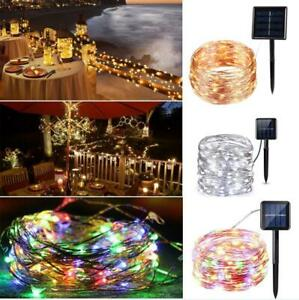 8 Modes Flash Solar Powered 23Ft 39Ft 50 100 LED Wire Light String For Xmas Deco