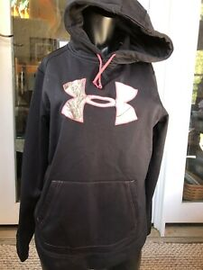 Womens Large Pink Black Camo Under Armour Semi Fitted Hoodie Cold Gear