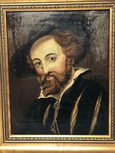 Antique Victorian Master Oil Painting Bearded Dutch Nobleman After Peter Rubens