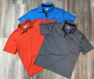 Under Armour Large Heat Gear Polo Golf Shirts Mens Lot of 3 OrangeGrayBlue