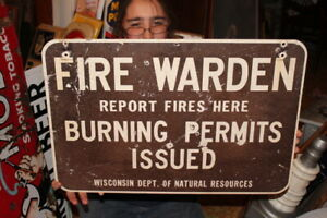Vintage 1960's Fire Warden Forest Hunting Fishing Gas Oil 2 Sided 22