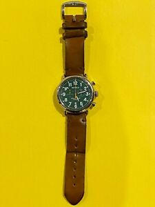 Shinola Runwell Chronograph Chrono 47mm S0100050 Chromexcel Leather 24mm