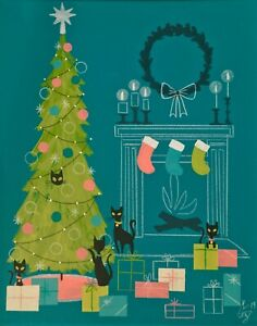 EL GATO GOMEZ PRINT RETRO VINTAGE MID CENTURY HOLIDAY CHRISTMAS TREE CAT GIFT