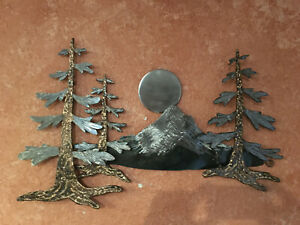 Dour Fir Forest metal wall hanging sculpture with Mt Hood mountian Pine Tree $375.00