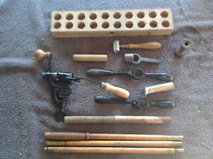 Antique Shotgun Shell Reloading Tools Vintage Wooden Box Black Powder Ammo