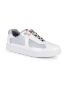 100% AUTH NEW MEN PRADA WHITE PUNTA ALTA AMERICA CUP LOW TOP SNEAKERS 12US 13