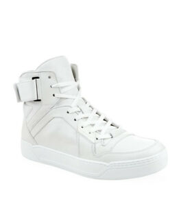 100% AUTHENTIC NEW MEN GUCCI WHITE HIGH TOP SNEAKER UK 10.5US 11.5
