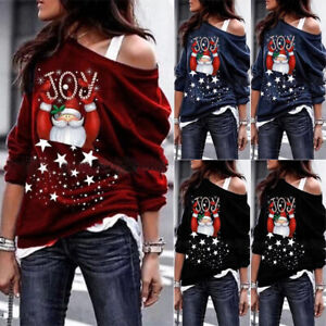 US Christmas Women Santa Claus Clothes Top Casual Pullover Jumpers Warm Sweater