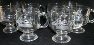 4 Vintage Glass Footed Etched Schooner Hot Toddy Coffee Tea Handled Mugs 8 oz
