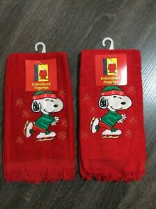 Vintage Embroidered Peanuts Snoopy Christmas Red Fingertips Towels Cotton Taiwan