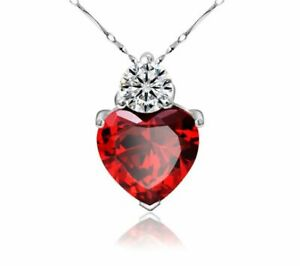 "18"" 925 Sterling Silver Red Garnet Heart Crystal Necklace for Women Ladies Wife"