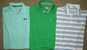UNDER ARMOUR MENS M GOLF POLO SHIRTS HEAT GEAR LOOSE LOT OF 3