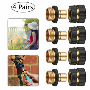 4 Pairs Garden Hose Quick Connect Set Brass Hose Tap Adapter Connector Universal