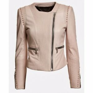 Barbara Bui Intermix Exclusive Blush Studded Moto Leather Jacket $2470