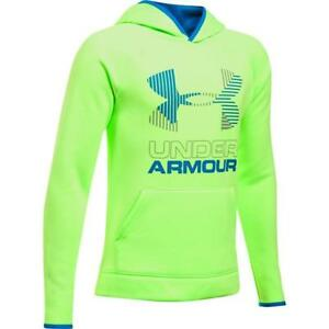 NWT UNDER ARMOUR Boys Armour Fleece Big Logo Hoodie Quirky Lime Size M, XL $29.99