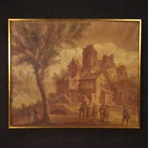 Antique painting framework oil on canvas landscape characters with frame 800