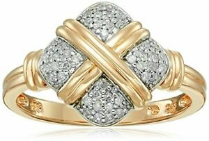 Yellow Gold Plated Sterling Silver Crisscross Square Diamond Ring (15cttw I-J