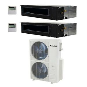 Klimaire 40000 BTU 2 Zone 19 Seer 24K24K Ducted AC Mini Split Heat 15FT KIT