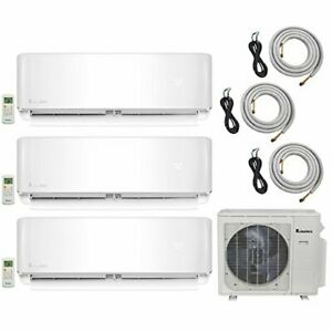 Klimaire 3 Zone 20 SEER 12K x3 Wall Ductless Multi Zone Air Conditioner Heat Kit
