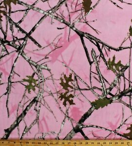 Fleece Pink Camouflage True Timber Camo Conceal Pink Fabric Print BTY A505.41