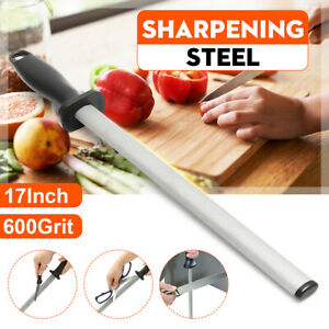 17'' 600# Grit Diamond Knife Sharpening Steel Rod Sharpener Stick Kitchen