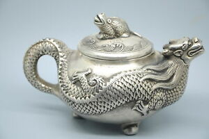 China handmade Tibet silver Carving Dragon teapot w qianlong Mark d02