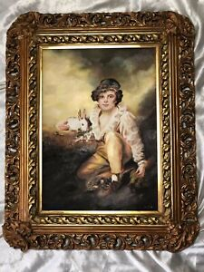 Fine Old Victorian Oil Painting Portrait Young Boy & Rabbit After Henry Raeburn