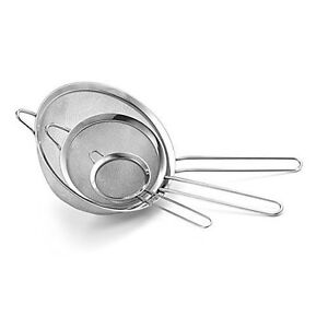 Pack of 3PC Metal Strainer 2.75''+3.25''+4'' With Metal Rim And Hook