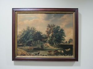 Antique Farm Landscape with Trees Cows & Cottage Oil on Canvas Painting