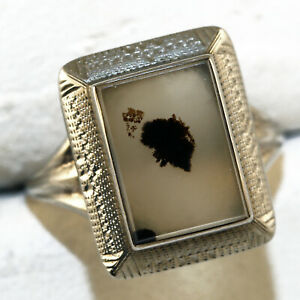Antique Victorian Dendritic 10k White Gold Ring