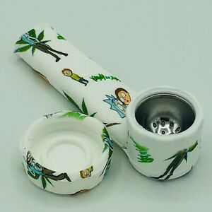 Silicone Smoking Pipe with Metal Bowl amp; Cap Lid R amp; M Character Pipe USA $7.99