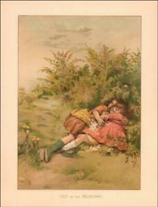 GIRLS ASLEEP in the MEADOW antique chromolithograph original 1887 $22.00