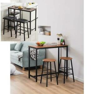 3 Piece Bar Table Set with 2 Stools Bistro Pub Kitchen Dining Furniture 2 Size