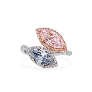2.97Ct Marquise Cut Fancy Blue Gray & Pink Diamond Ring Natural 18K Gold GIA New