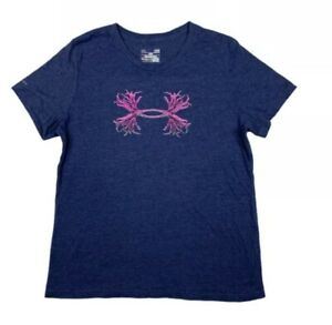 Under Armour Women Large Loose Fitted Heat Gear T Shirt Tee Running Gym Blue