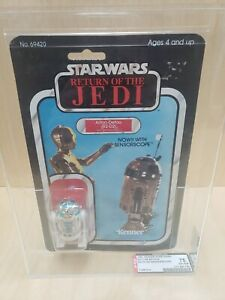 VINTAGE STAR WARS ROTJ R2-D2 SENSORSCOPE 65-B AFA GRADED MOC CLEAR BUBBLE LQQK