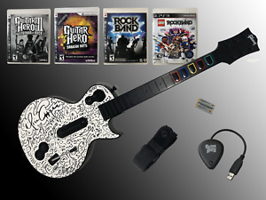 PS3 Guitar Hero Les Paul WITH DONGLE + 4 Games -- Working Excellent!
