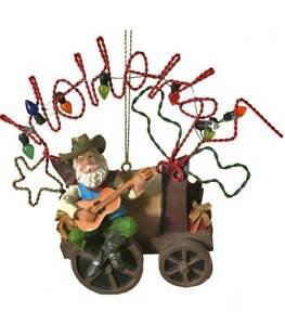 Cowboy Santa with Covered Wagon Country Western Christmas Ornament