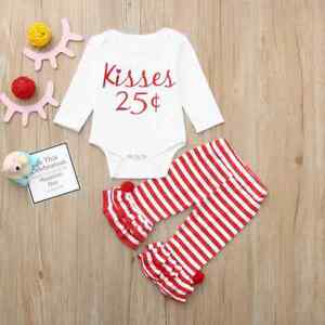 NEW Valentines Day 25 ¢ Kisses Baby Girls Ruffle Pants Outfit Set $10.99