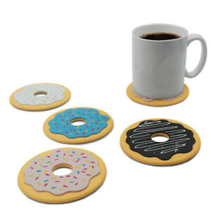 Set of 4 Cup Mat Insulated Silicone Coaster Black Donut Pattern 10cm in Dia