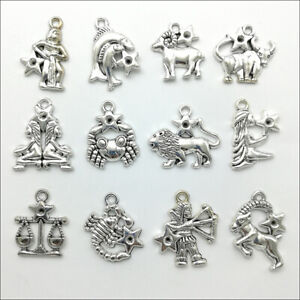 50pcs Twelve constellations Antique Silver Charms Pendants Jewelry Making DIY $1.99