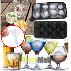 Round Silicon Ice Cube Ball Maker Tray 8 Large Sphere Molds Bar with Free Funnel