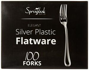 Silver Plastic Cutlery Forks (100 Count) - Springbok Creations