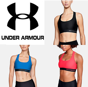 Womens Under Armour Armour Mid Crossback Sports Bra Workout Clothes 1307200 $23.99