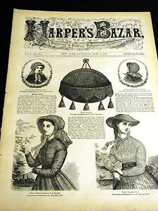 Harper#x27;s Bazar June 6 1868 VICTORIAN PATTERNS Ladies amp; Girls Hats Suit Dresses $65.00