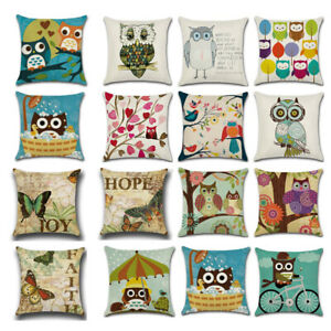 18quot; Owl Butterfly Animal Linen Throw Pillow Case Cushion Cover Home Sofa Decor