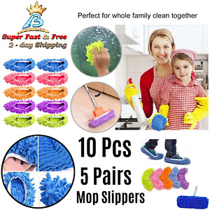 Quick Polishing Mop Slippers Lazy Floor Foot Socks Shoes Cleaning Duster 10 Pcs