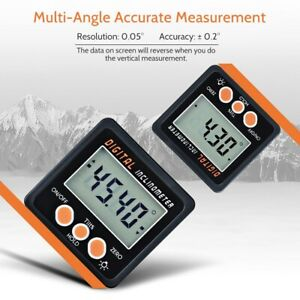 Angle Finder Level Box Digital Inclinometer 4*90°Protractor Bevel Gauge Magnet*1 C $18.67