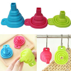 2/5X Silicone Gel Mini Practical Collapsible Foldable Funnel Hopper Kitchen Tool